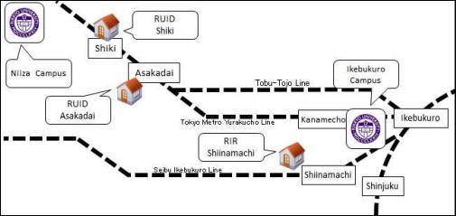 Rikkyo Dorm and Campus Map