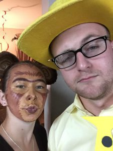 Dressing up as Curious George and the Man with the Yellow Hat