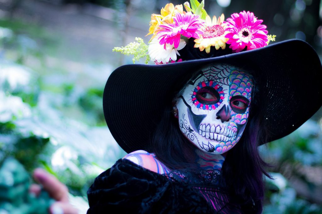 Person dressed up for Day of the Dead