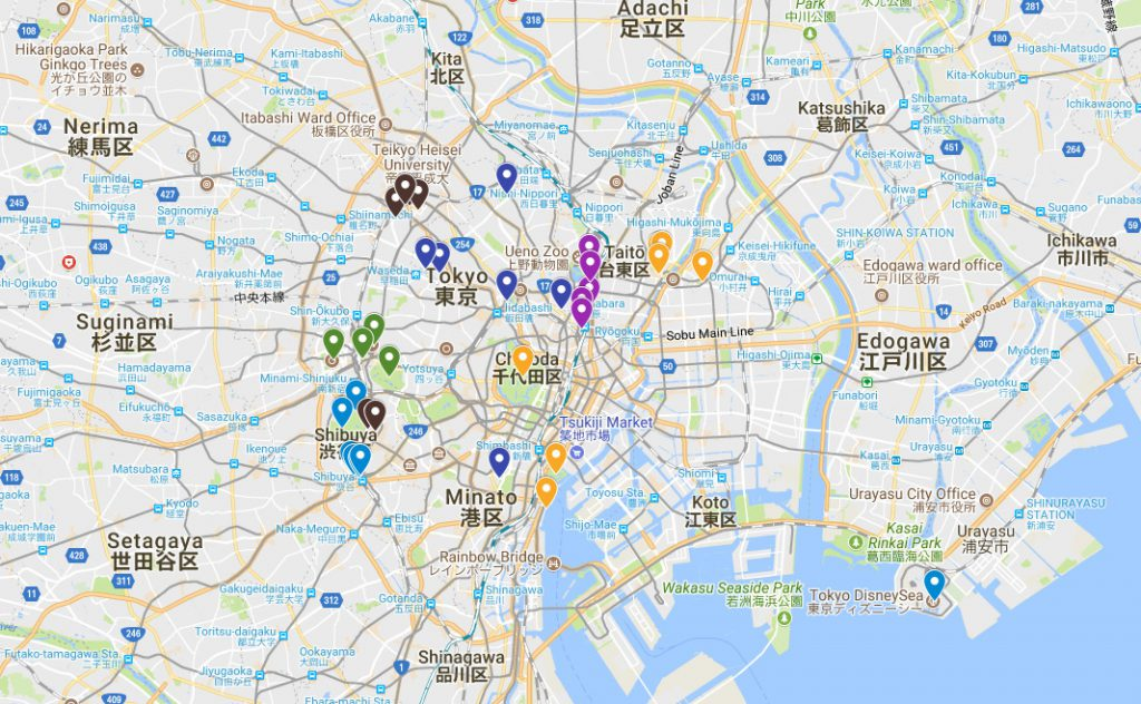 5 - 7 Day Tokyo Itinerary Map | Footsteps of a Dreamer
