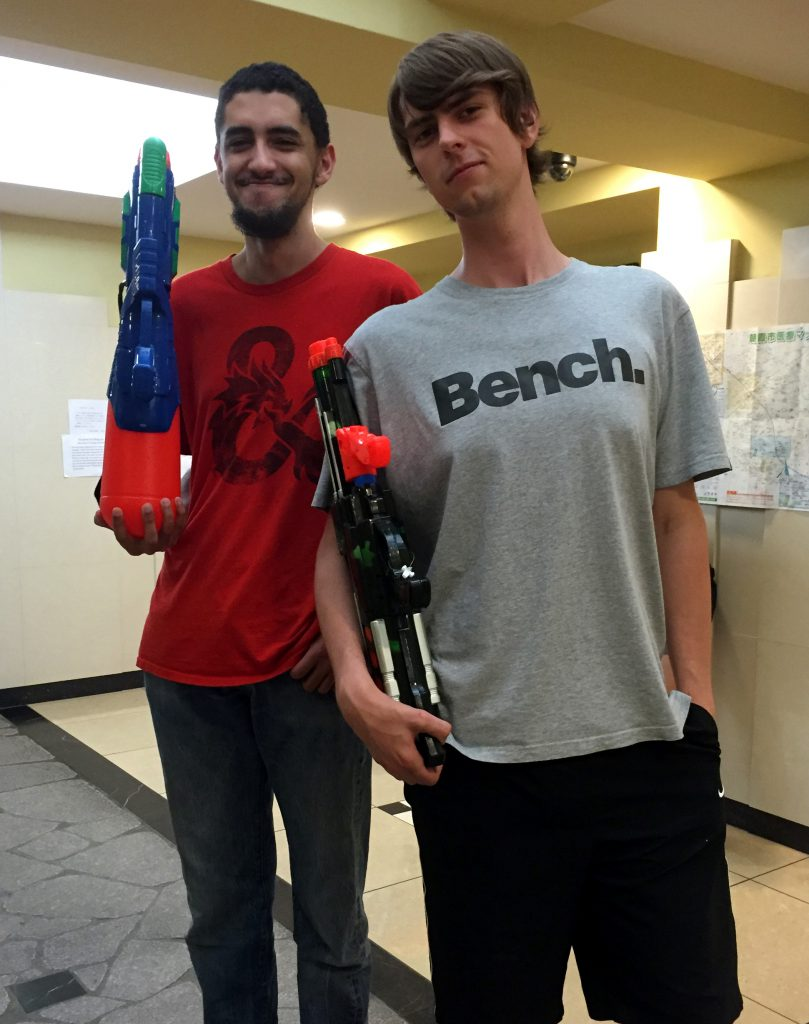 Of course the tallest guys in the dorm would have the biggest guns