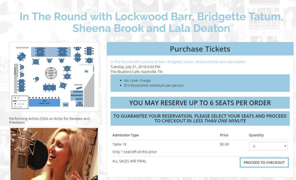 Bluebird Cafe Ticket Purchase Process | Footsteps of a Dreamer