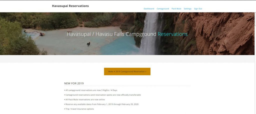 Havasupai Reservations Dashboard | Footsteps of a Dreamer